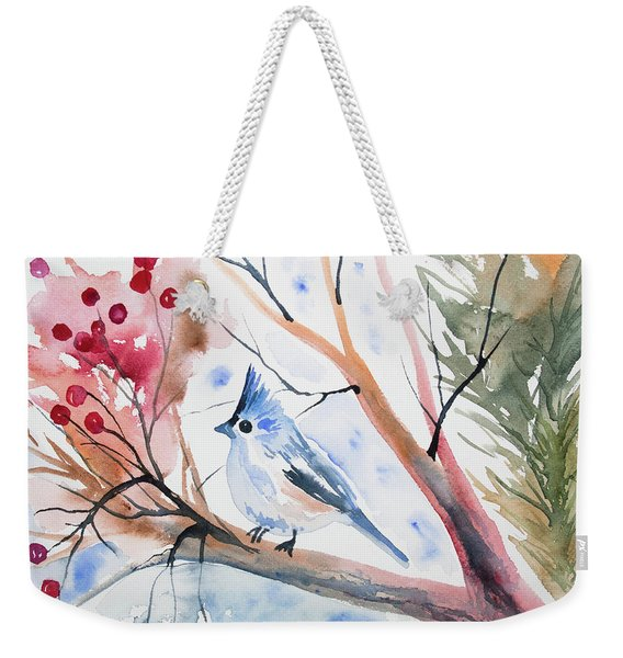Watercolor - Tufted Titmouse With Winter Berries Weekender Tote Bag
