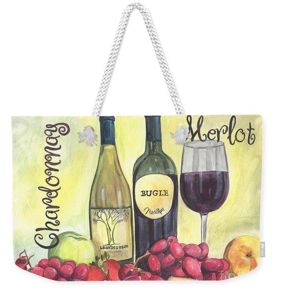 Watercolor Wine Weekender Tote Bag