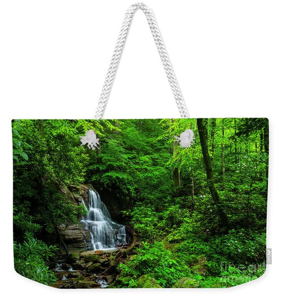 Waterfall And Rhododendron In Bloom Weekender Tote Bag