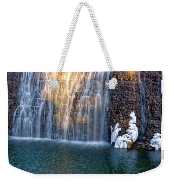 Waterfall In Winter Weekender Tote Bag