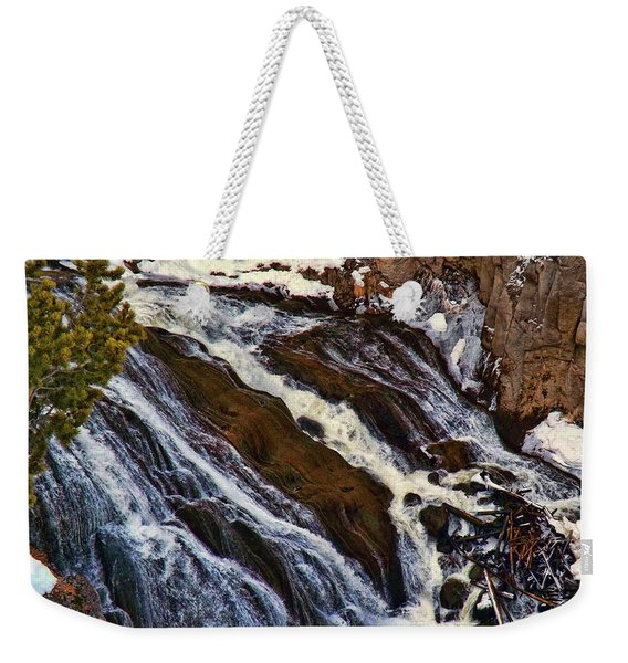 Waterfall In Yellowstone Weekender Tote Bag