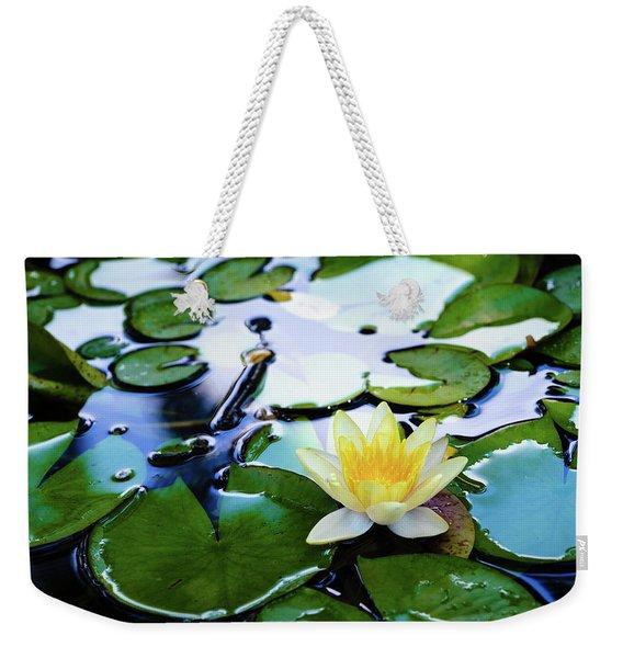 Waterlilly On Blue Pond Weekender Tote Bag