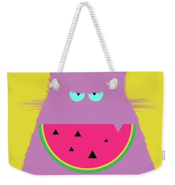 Watermelon Lilac Cat Weekender Tote Bag