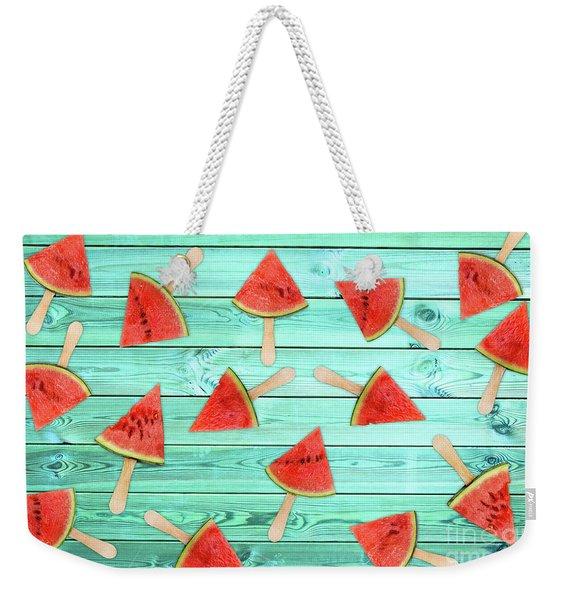 Watermelon Popsicles On Blue Weekender Tote Bag