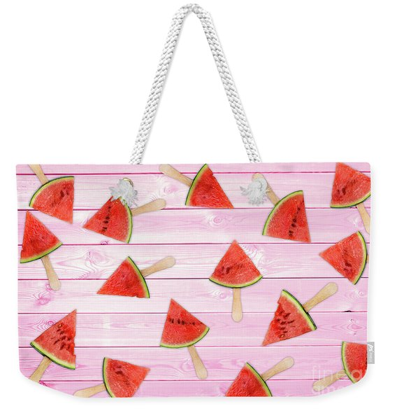 Watermelon Popsicles On Pink Weekender Tote Bag