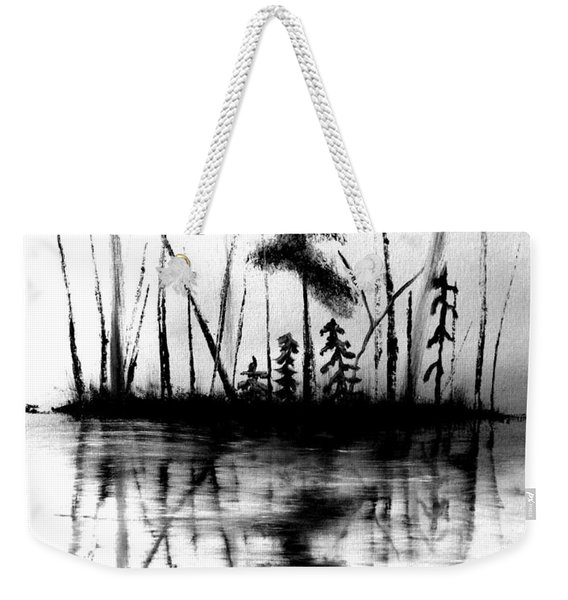 Weekender Tote Bag featuring the painting Waters Edge by Denise Tomasura