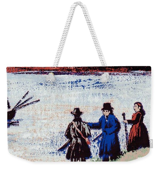 Weekender Tote Bag featuring the mixed media Waters Edge by Writermore Arts