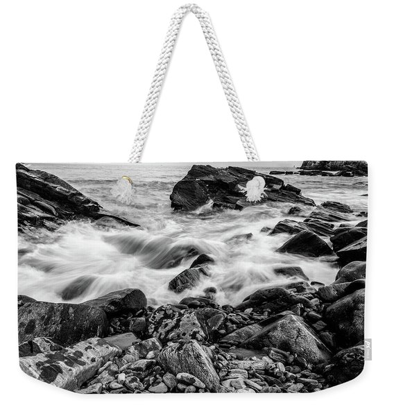 Waves Against A Rocky Shore In Bw Weekender Tote Bag