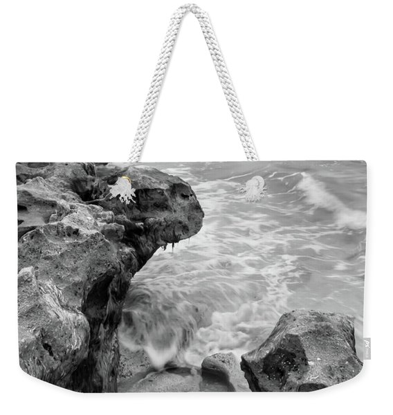 Waves And Coquina Rocks, Jupiter, Florida #39358-bw Weekender Tote Bag