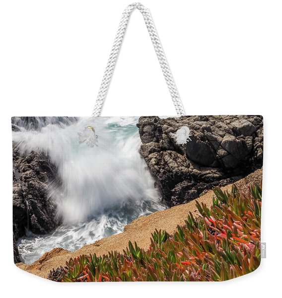 Weekender Tote Bag featuring the photograph Waves And Rocks At Soberanes Point, California 30296 by John Bald