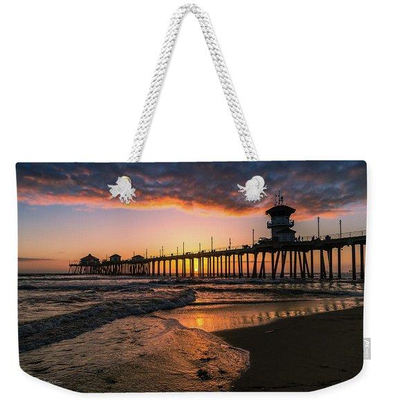 Waves At Sunset Weekender Tote Bag