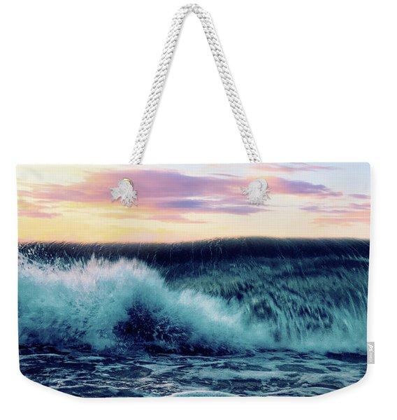 Waves Crashing At Sunset Weekender Tote Bag