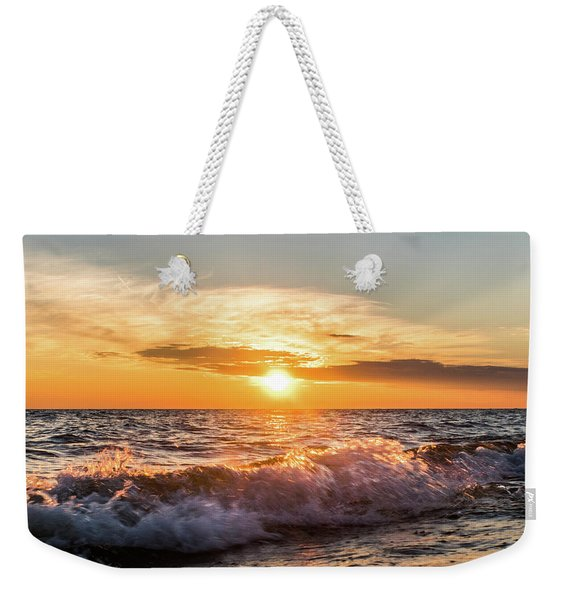 Waves Crashing With Suset Weekender Tote Bag