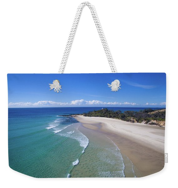 Waves Rolling In To North Point Beach On Moreton Island Weekender Tote Bag