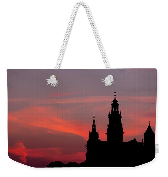 Wawel Castle And Cathedral Silhouette In Krakow Weekender Tote Bag
