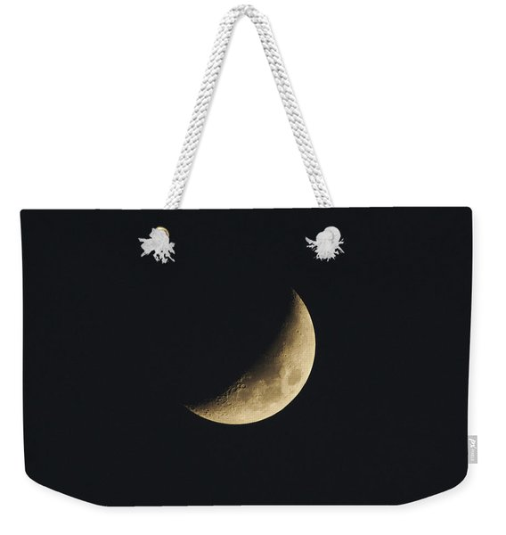 Weekender Tote Bag featuring the photograph Waxing Crescent Spring 2017 by Jason Coward