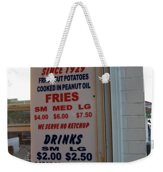Weekender Tote Bag featuring the photograph We Serve No Ketchup by Kim Bemis