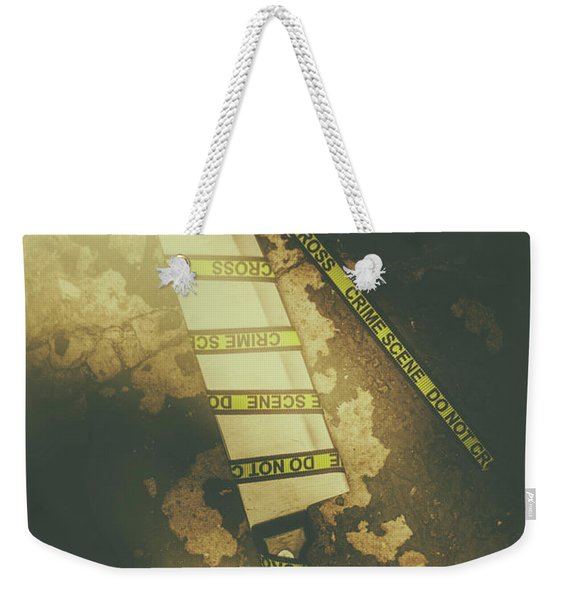 Weapon Wrapped In Yellow Crime Scene Ribbon Weekender Tote Bag