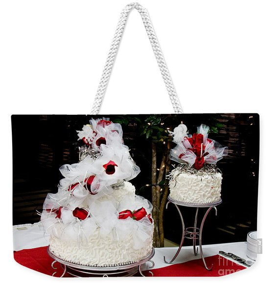 Wedding Cake And Red Roses Weekender Tote Bag