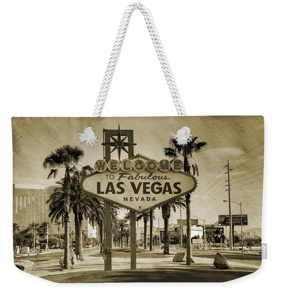 Welcome To Las Vegas Series Sepia Grunge Weekender Tote Bag