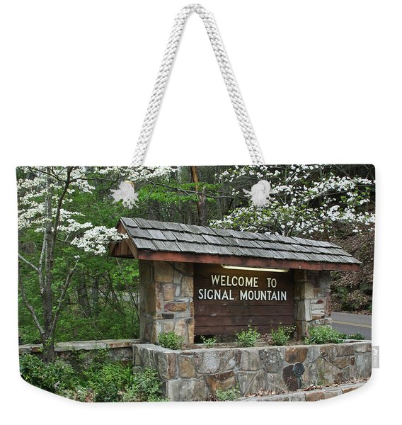 Welcome To Signal Mountain Spring Weekender Tote Bag