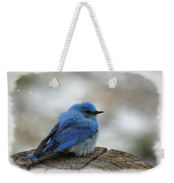 Western Bluebird On Cold Day Weekender Tote Bag