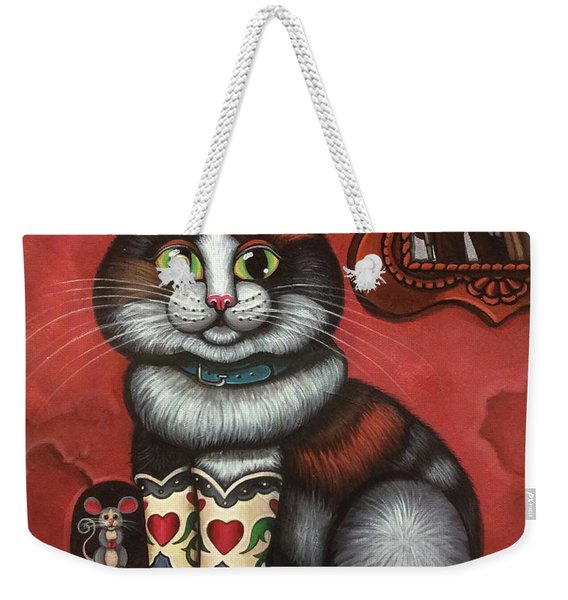 Western Boots Cat Painting Weekender Tote Bag