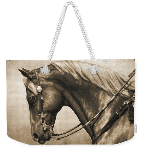 Western Horse Painting In Sepia Weekender Tote Bag
