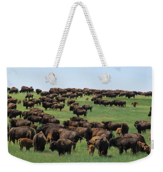 Western Kansas Buffalo Herd Weekender Tote Bag