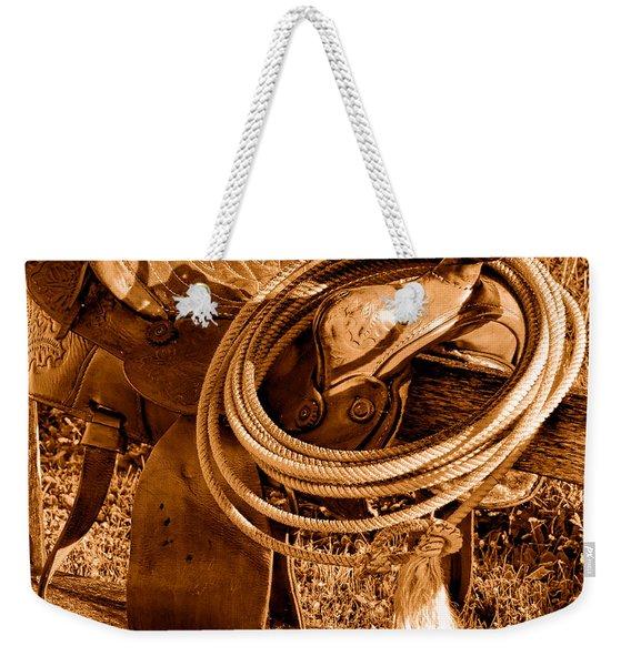Western Lasso On Saddle - Sepia Weekender Tote Bag