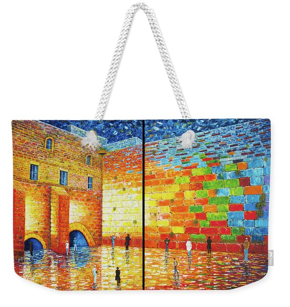 Western Wall Jerusalem Wailing Wall Acrylic Painting 2 Panels Weekender Tote Bag