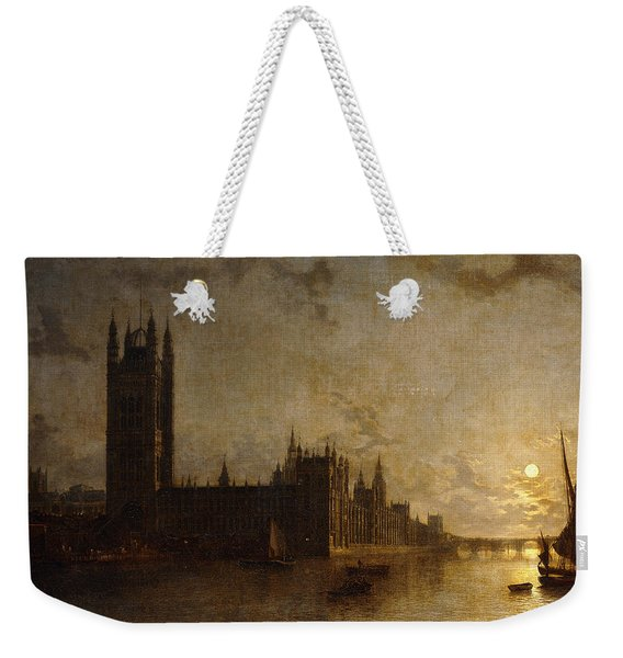 Westminster Abbey, The Houses Of Parliament With The Construction Of Westminster Bridge Weekender Tote Bag