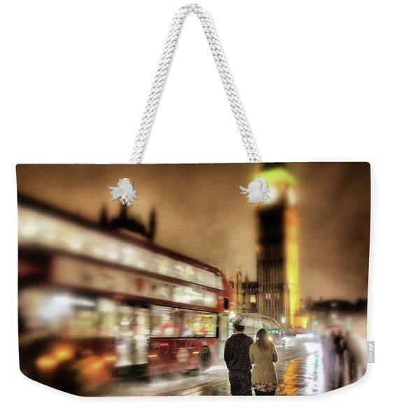 Westminster Bridge In Rain Weekender Tote Bag
