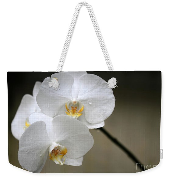 Wet White Orchids Weekender Tote Bag