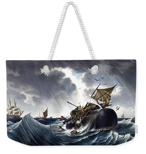Whale Destroying Whaling Ship Weekender Tote Bag