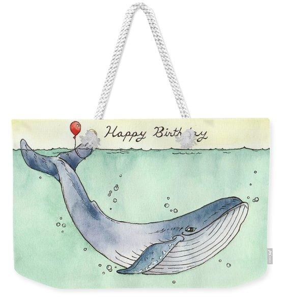 Whale Happy Birthday Card Weekender Tote Bag