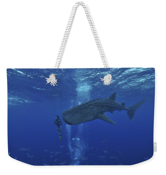 Whale Shark And Diver, Maldives Weekender Tote Bag