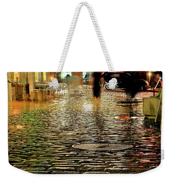 Weekender Tote Bag featuring the photograph Wharf Street, Portland, Maine  -17739-17741 by John Bald