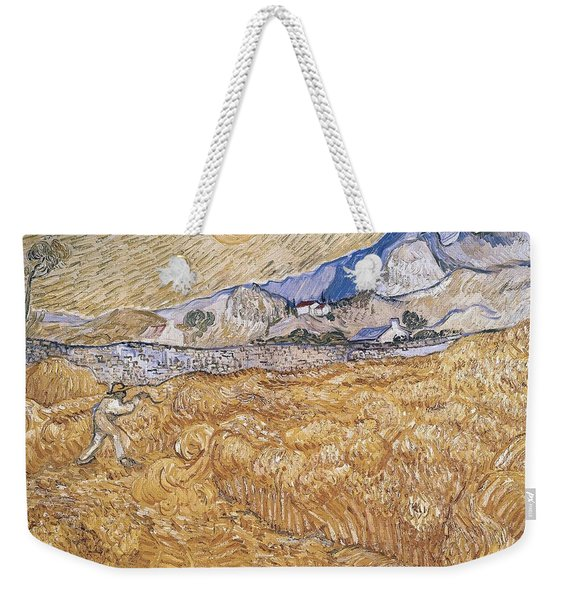 Wheat Field With Reaper Harvest In Provence Weekender Tote Bag