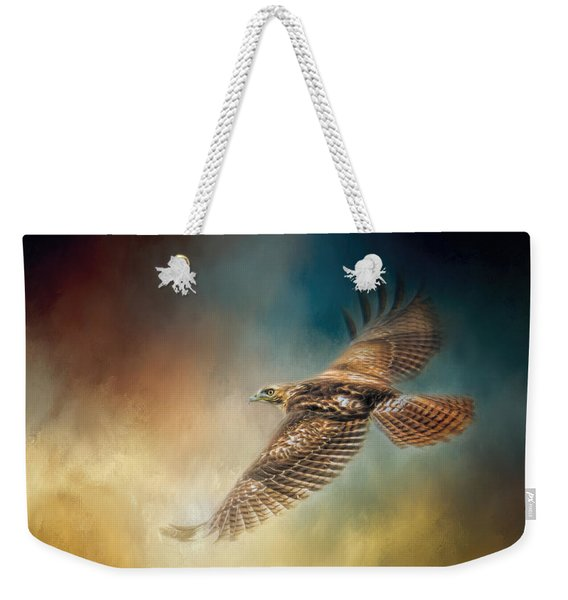 When The Redtail Flies At Sunset Hawk Art Weekender Tote Bag