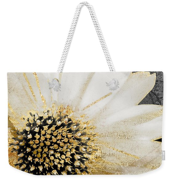 White And Gold Daisy Weekender Tote Bag