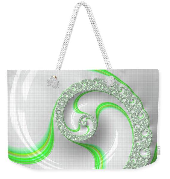 White And Green Spiral Elegant And Minimalist Weekender Tote Bag