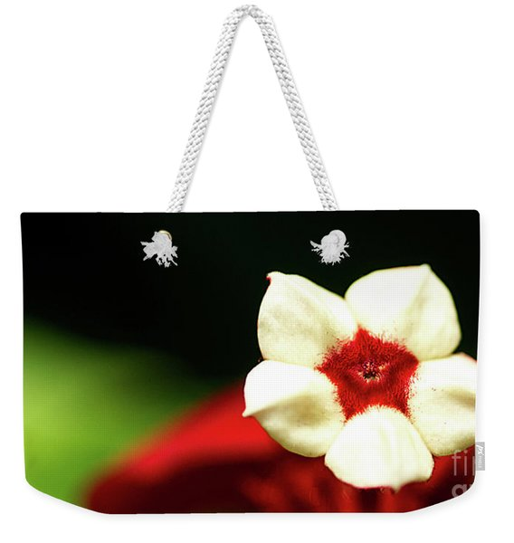 White And Red Flower Weekender Tote Bag