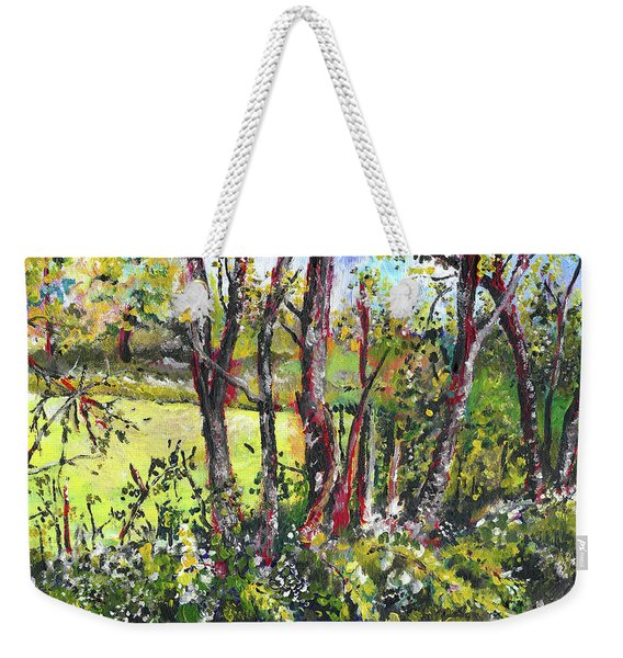 White And Yellow - An Unusual View Weekender Tote Bag