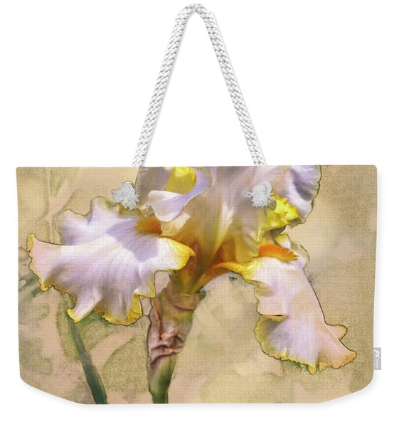 White And Yellow Iris Weekender Tote Bag