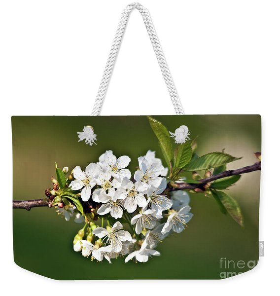 White Apple Blossoms Weekender Tote Bag