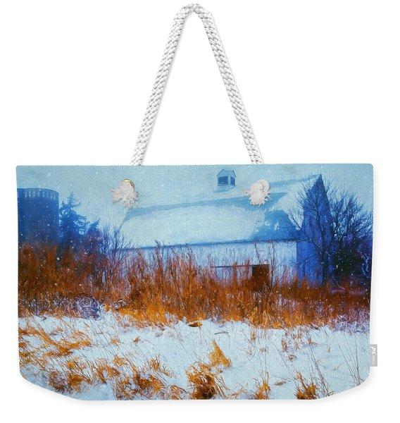 White Barn In Snowstorm Weekender Tote Bag
