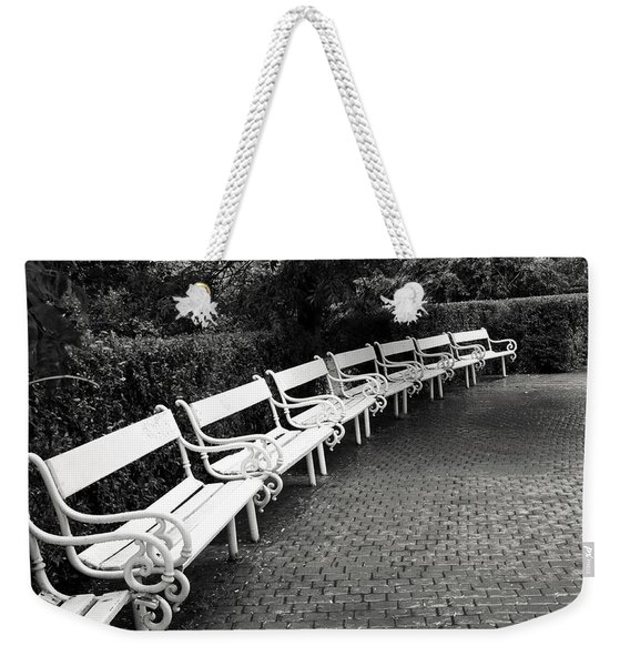 White Benches-  By Linda Wood Woods Weekender Tote Bag