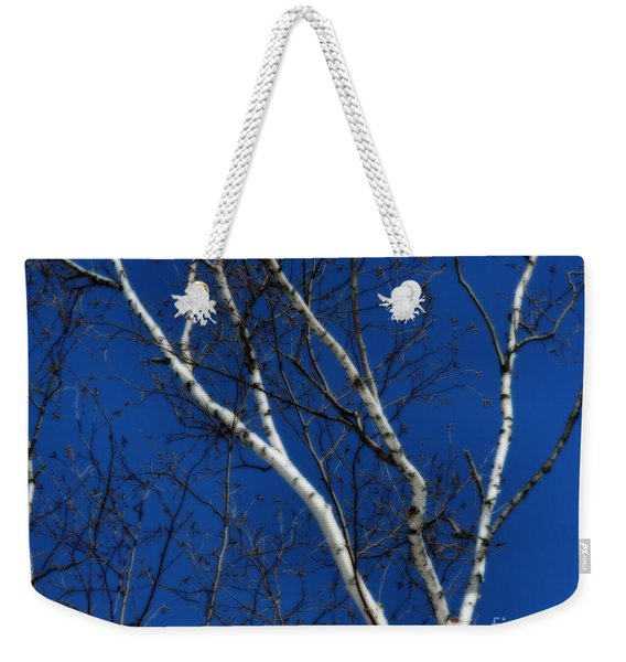 White Birch Blue Sky Weekender Tote Bag