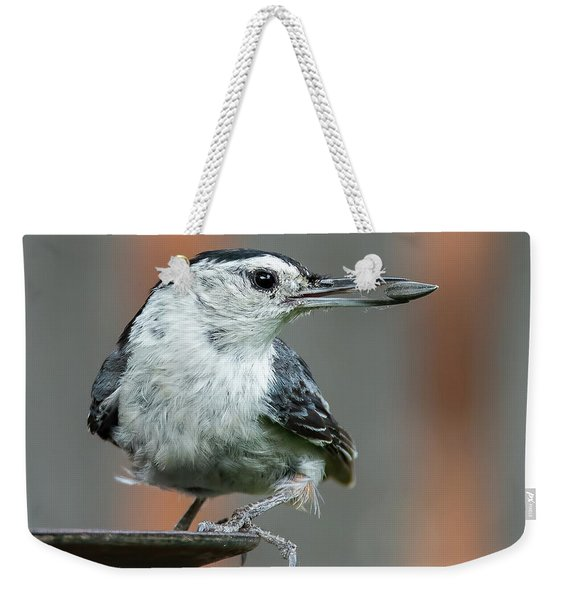 White-breasted Nuthatch With Sunflower Seed Weekender Tote Bag